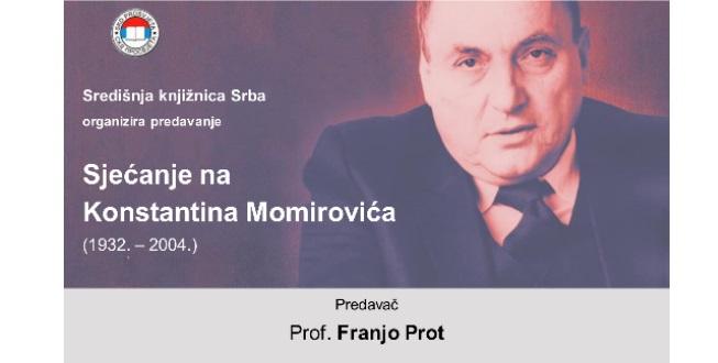 Održano predavanje o Konstantinu Momiroviću